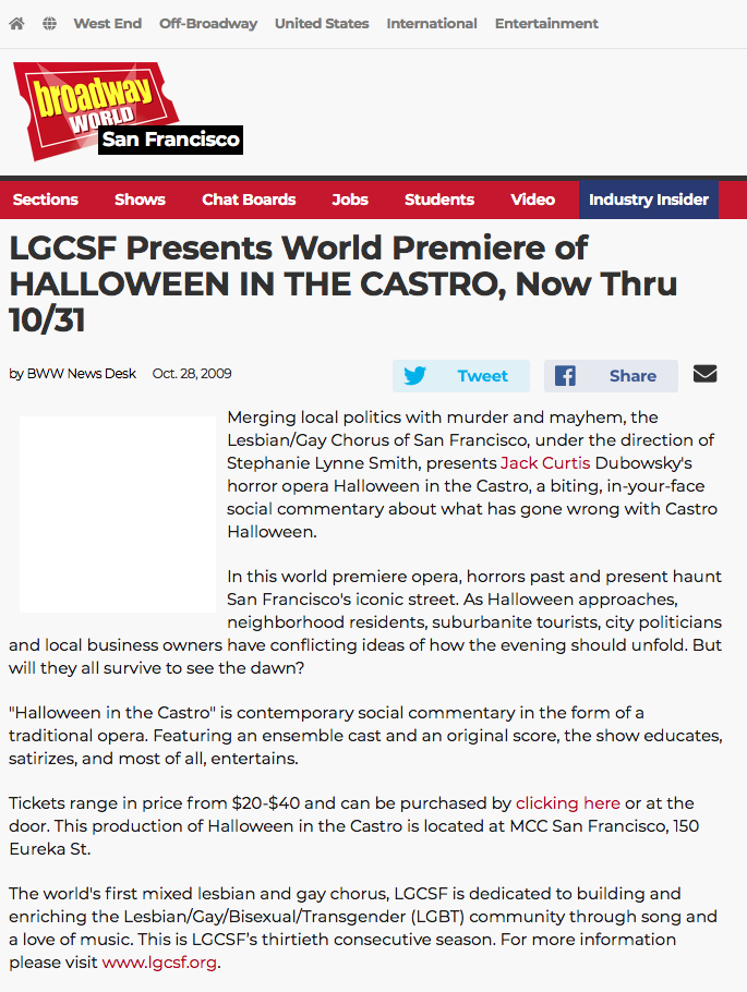 Broadway World reviews Halloween in the Castro opera