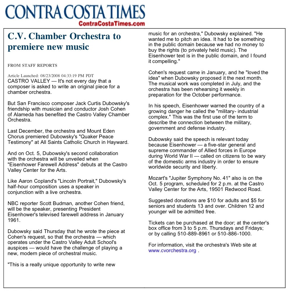 Contra Costa Times review of Eisenhower Farewell Address