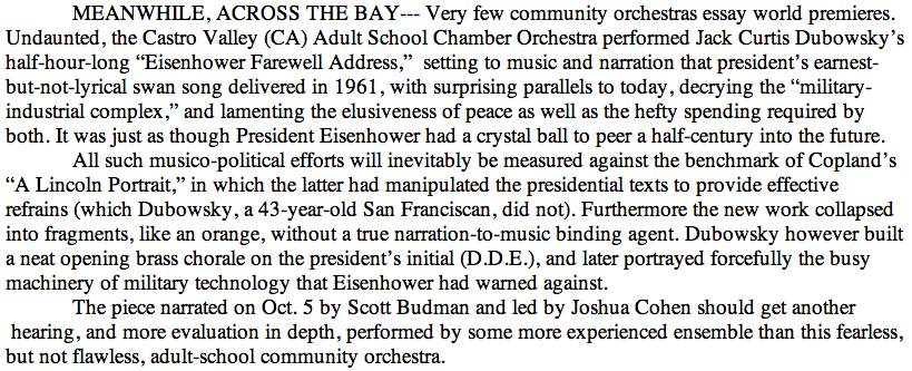 Contra Costa Times review of Eisenhower Farewell Address Hertelendy Write Up
