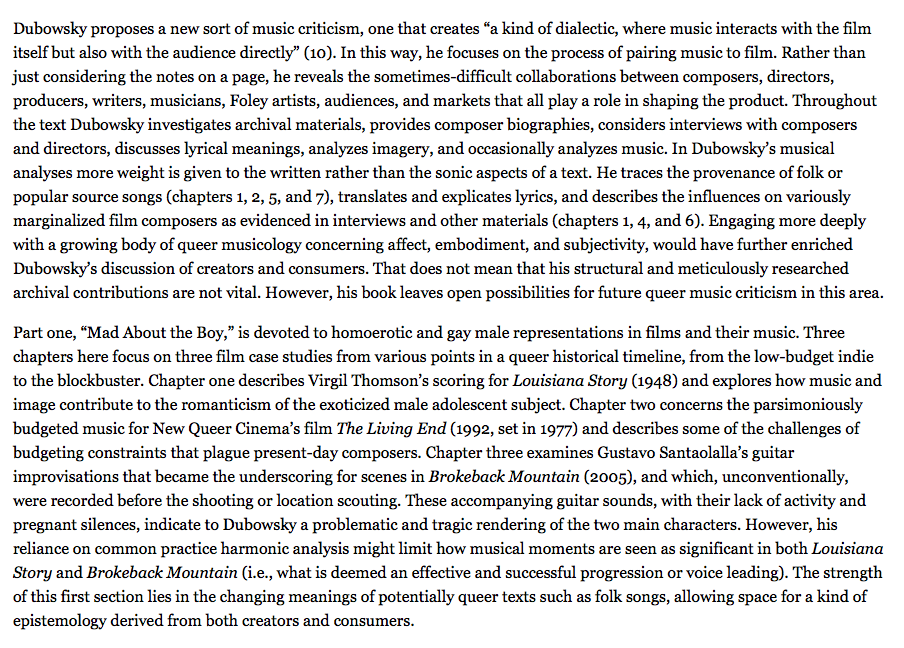 SAM Bulletin book review of Intersecting Film Music and Queerness